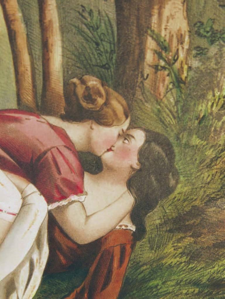 Achille Devéria, um 1830. Romantische Lithographie, Erotische Fantasien