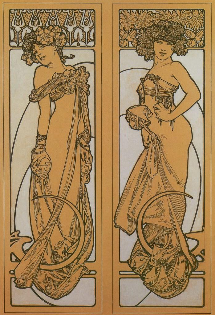Deux femmes debout, dessin pour Documents décoratifs, planche 45, 1902, Alphonse Mucha, Patrick Bade, Victoria Charles