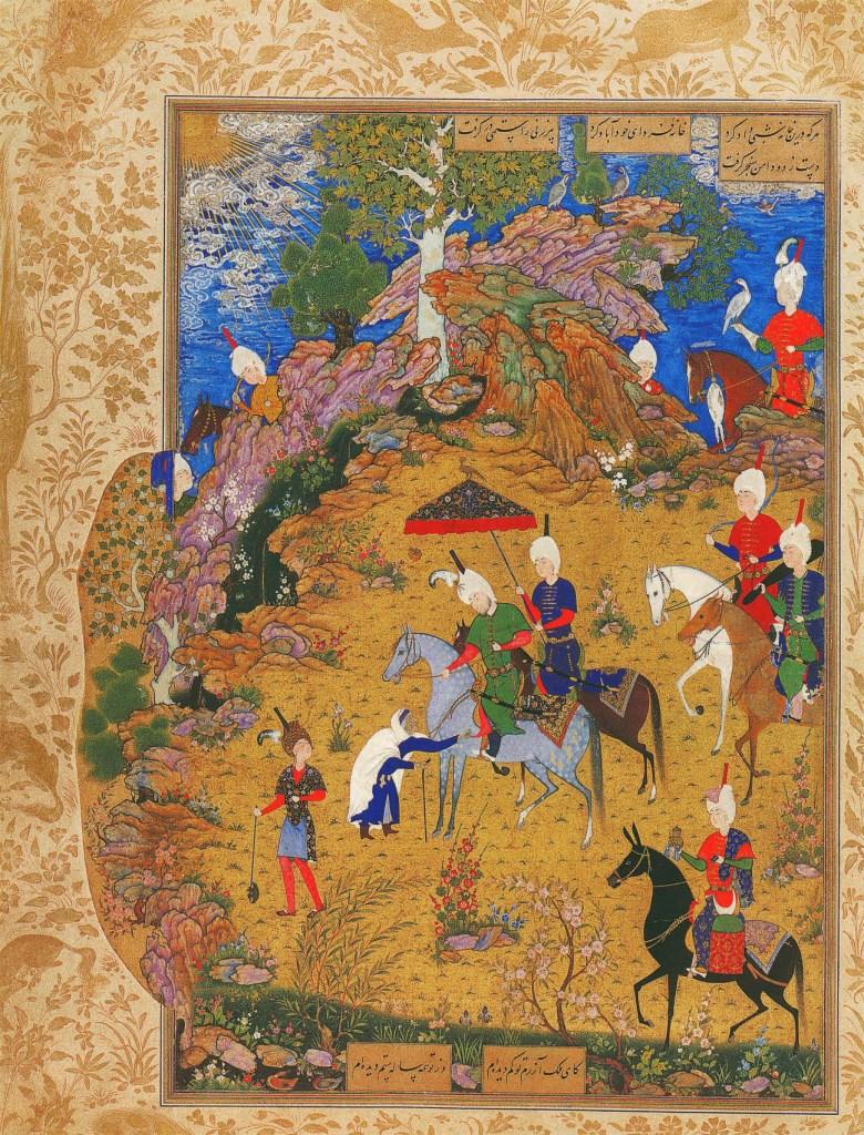 Sultan Sanjar aufgelauert von einer alten Frau, die sich über das Fehlverhalten seiner Truppen beschwert, Das Buch der Wunder, Marco Polo