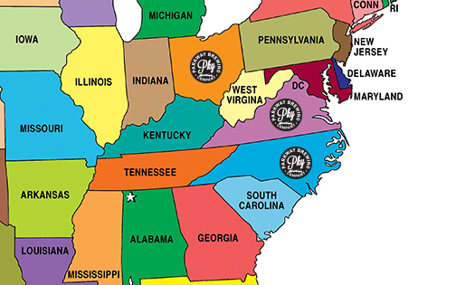 Distribution map Parkway Brewing Company Salem Roanoke Virginia Ohio North Carolina