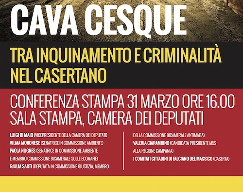 Cava Cesque: tra inquinamento e criminalità nel casertano   Conferenza stampa M5S