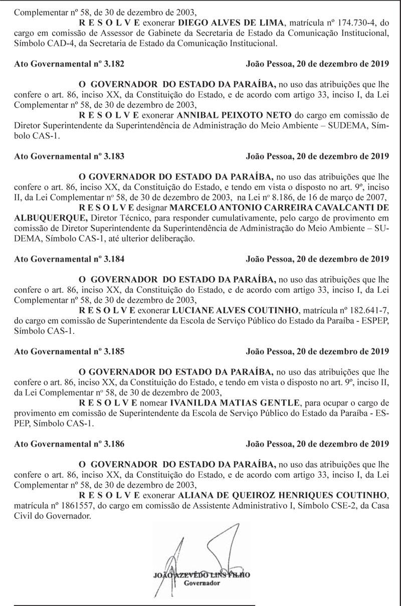 exonera21121 - Limpa no PSB: João Azevedo exonera secretária executiva do Esporte e gestores do Iphaep, Sudema e Espep