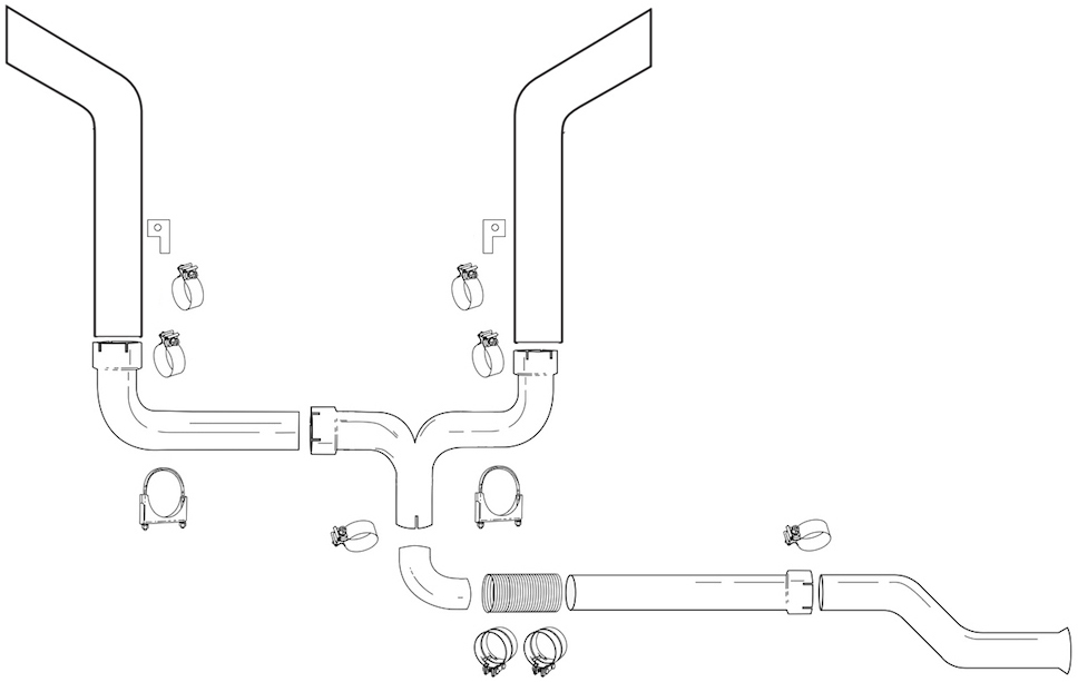 grand rock turbo back dual exhaust stack kit with 7 inch bull horn cut stack tips for 1994 1997 ford 7 3l powerstroke