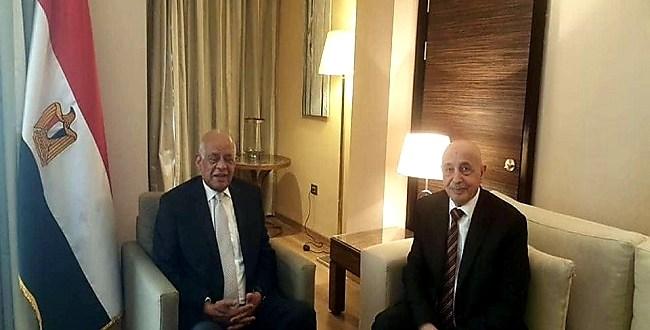 رئيس البرلمان المصري يؤكد ان مجلس النواب الليبي هو الممثل الشرعي الوحيد للشعب الليبي خلال لقائه بفخامة رئيس مجلس النواب
