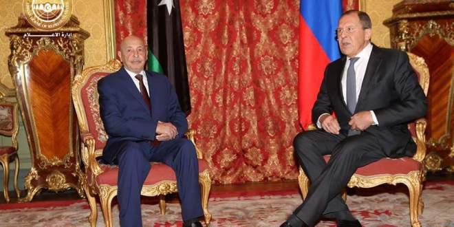فخامة رئيس مجلس النواب يبحث مع وزير الخارجية الروسي الأوضاع في ليبيا
