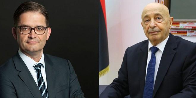فخامة رئيس مجلس النواب يبحث مع السفير الألماني مستجدات الوضع السياسي في ليبيا