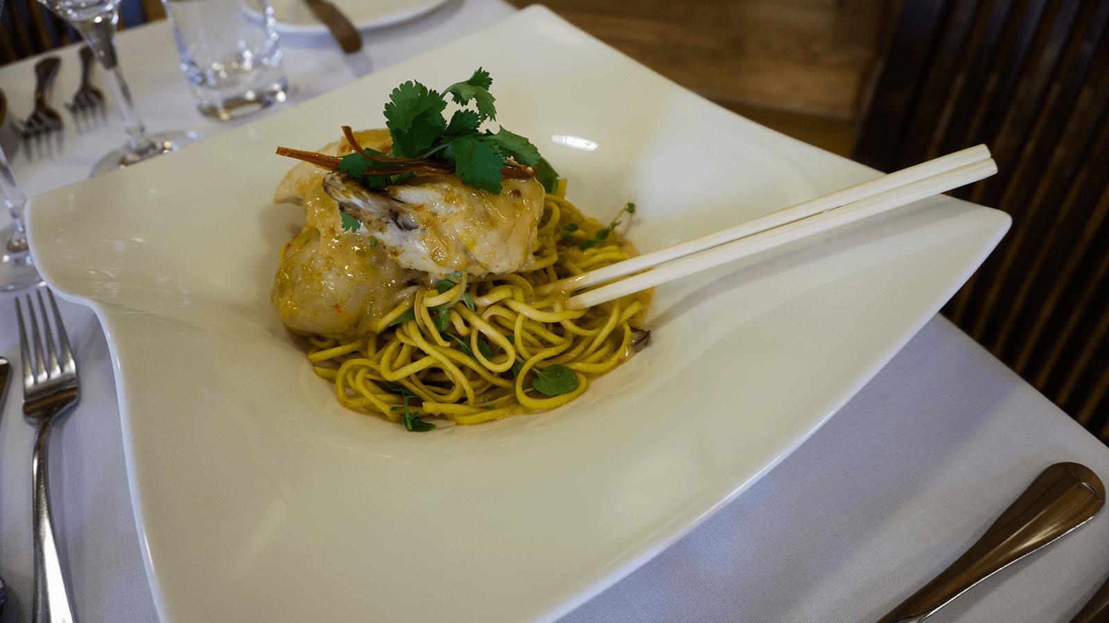 Half satay chicken sticky Nan Chim noodles