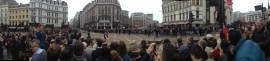 9:40: wider panoramic shot of Ludgate Circus. Some naval personnel cross the road.