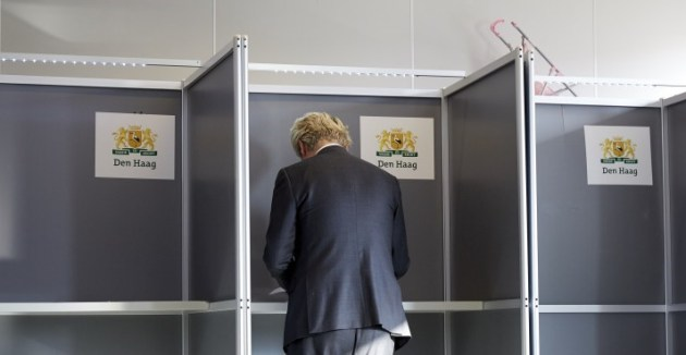 The leader of Dutch rightwing party PVV Geert Wilders casts his vote in The Hague, in a non-binding referendum on an EU cooperation deal with Ukraine | Martijn Beekman/AFP via Getty Images