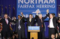 Governor-elect of Virginia, Ralph Northam (D) celebrates his election night victory with the other victorious Democratic candidates for state-wide office and outgoing Governor Terry McAuliffe (D)
