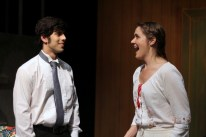 Dillon DiSalvo as Leon and Sarah Pullen as Sophia in Parlor Room Theater's production of Fools by Neil Simon