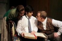 Kathryn Barrett-Gaines as Lenya, Dillon DiSalvo as Leon, and Phil Dickerson as Doctor Zubritsky in Parlor Room Theater's production of Fools by Neil Simon.