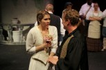 Sarah Pullen as Sophia and Jesse Marciniak as Count Gregor in Parlor Room Theater's production of Fools by Neil Simon.