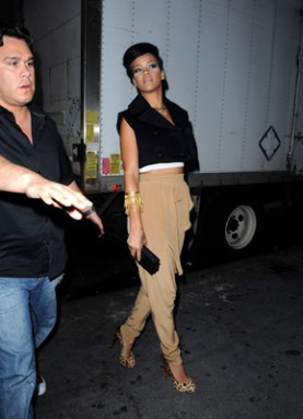 rihanna tan pants