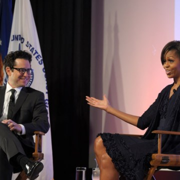 Michelle Obama and JJ Abrams on June 13, 2011 in Beverly Hills, California.