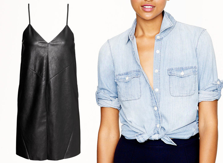 Faux Leather Short Dress by H&M, Chambray Shirt by J. Crew