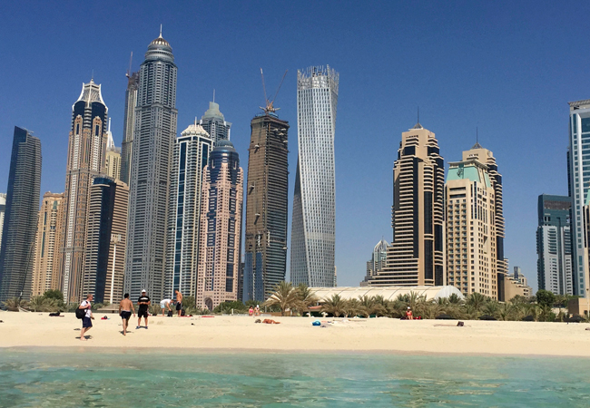 A view of Dubai from the beach water, the warmest you will ever swim in