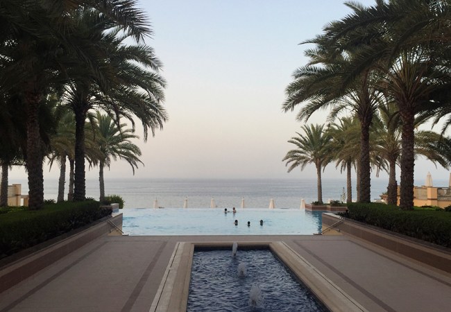 A view of the infinity pool of the Al Husn