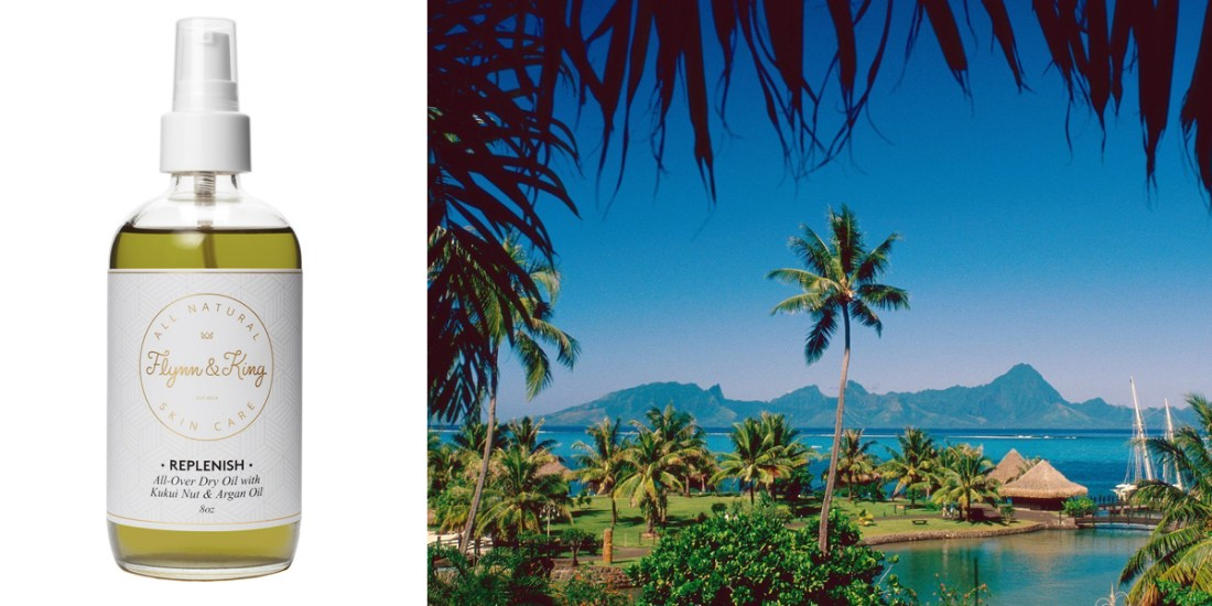 Moorea Tahiti, French Polynesia Islands / Flynn&King Replenish-All-Over Dry Oil with Kukui Nut and Argan Oil