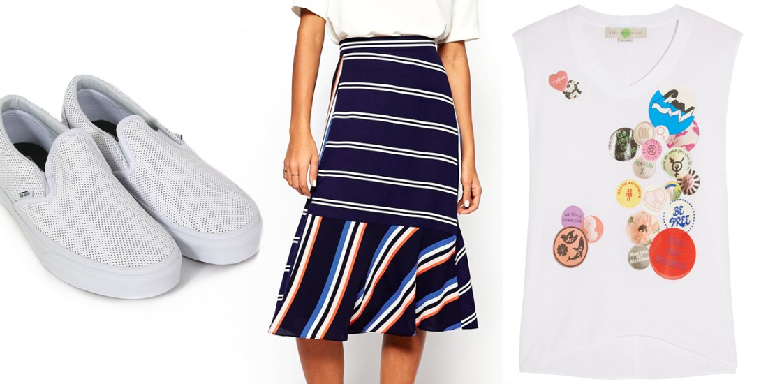 Perforated Leather Vans / Whistles Striped Midi Skirt / Oversized Muscle Tee