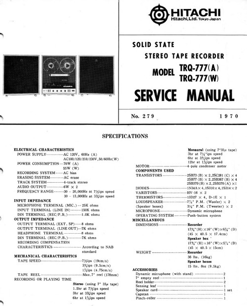 Hitachi cp55r service manual free download