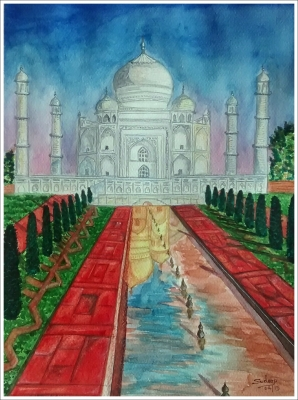 A Tajmahal in the evening time