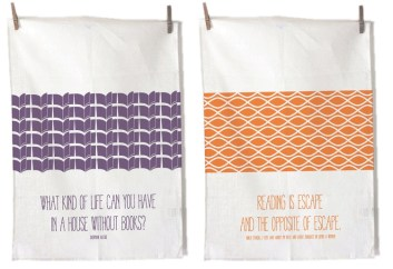 "100% cotton flour sack tea towels. ""Sweet"" towels feature quotes from Nora Ephron and Sherman Alexie."