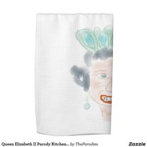 Queen Elizabeth II Parody Kitchen Tea Towel - Quarter Fold