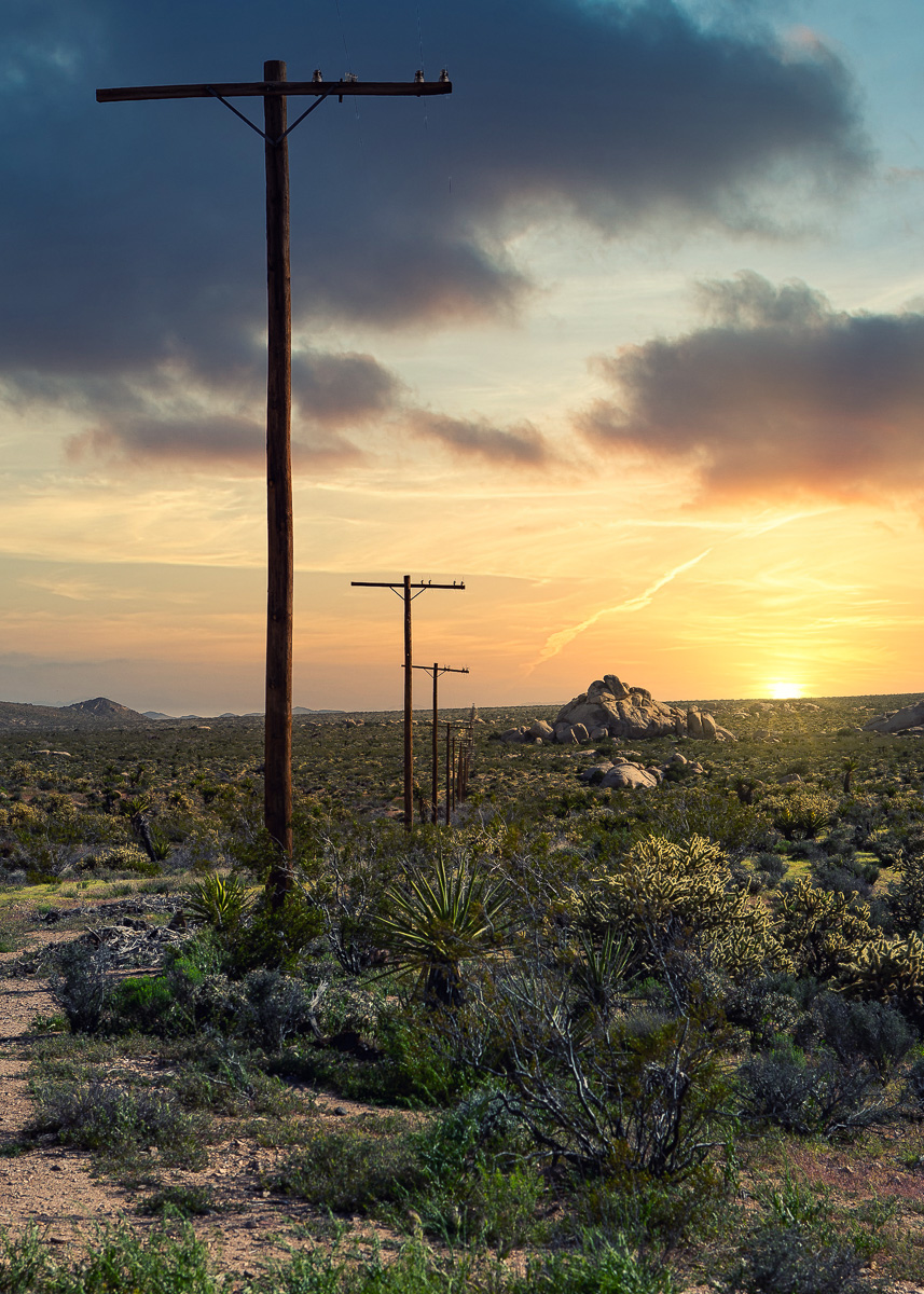 Solnedgång i Mojave nationalpark
