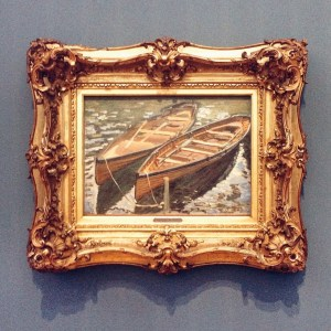 The painting «Rowboats» by Claude Monet (1840 - 1926) from 1869 in the exibition «Impressionism: The Art of Landscape» at Museum Barberini in Potsdam