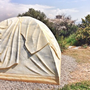 Zeltskulptur auf dem Filoppou-Hügel in Athen