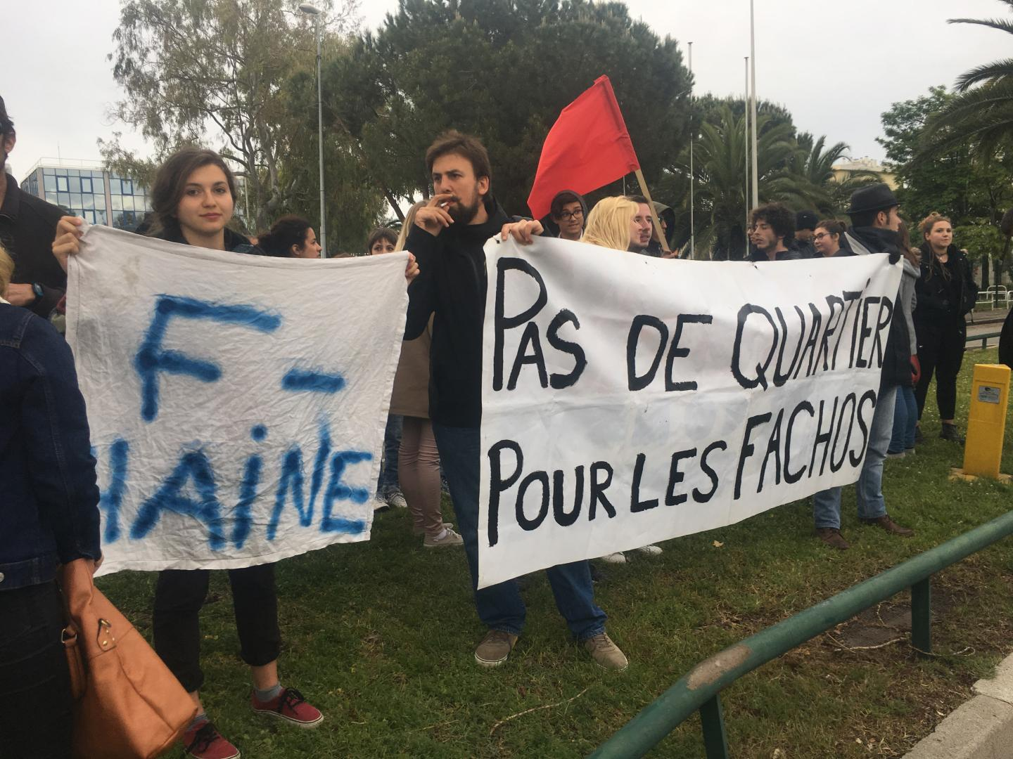 Manifestation Anti-FN à Nice lors du meeting de Marine Le Pen