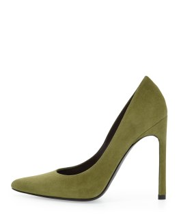 STUART WEITZMAN -Queen Suede Pointy-Toe Pump