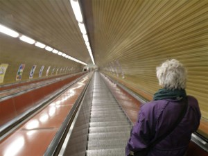 Prague has very deep Metro stations