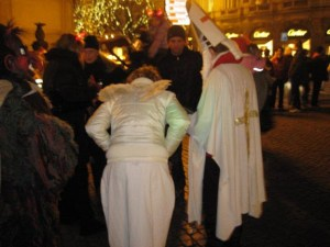three characters of Mikulas night, Prague