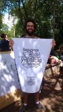 Nuvem de palavras, resultado do debate com moradores e frequentadores do Jardim do Baobá. Maio de 2017. Foto: Maíra Brandão
