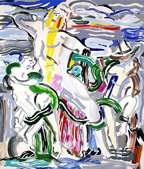 Roy Lichtenstein, Laocoonte, óleo e acrílico sobre tela, 305 x 259 cm. Col. Particular.