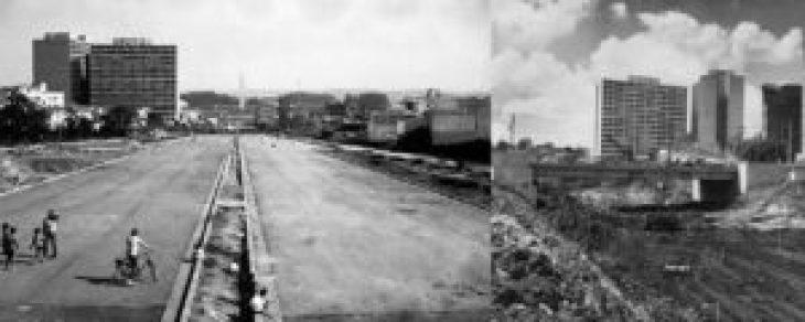 À esquerda, Av. 23 de Maio em fase de acabamento, vista da altura da rua Cubatão em direção do Obelisco; à direita, a avenida em construção com o viaduto da rua Tutóia.