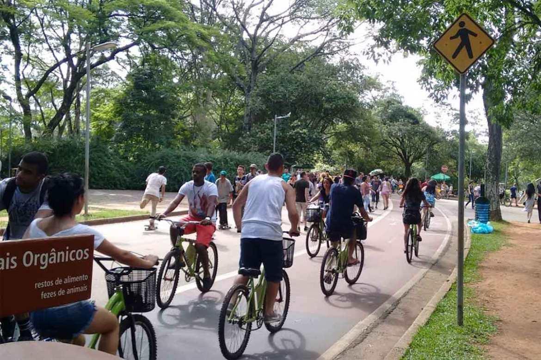 Ciclistas e pedestres na ciclofaixa do Parque Ibirapuera