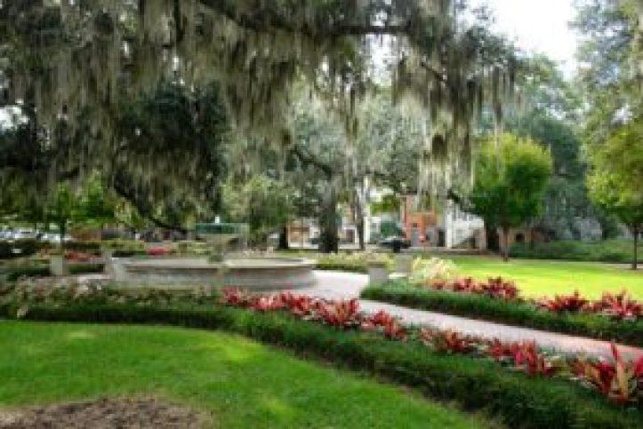 Praca historica de Savannah, Gerorgia, Estados Unidos.