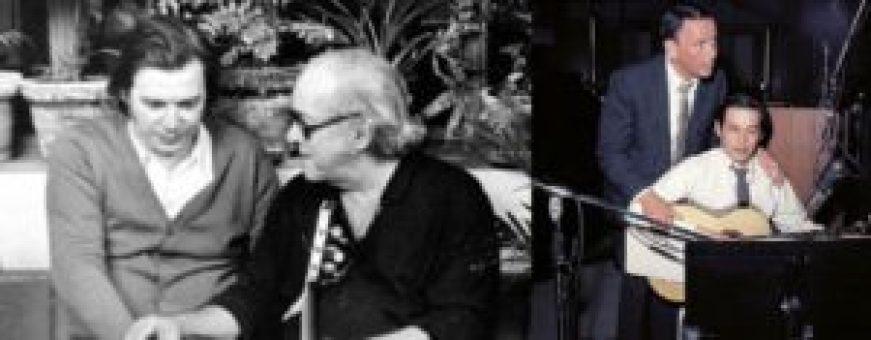 À esquerda, Antônio Carlos (Tom) Jobim com Vinícius de Moraes; e, à direita, com Frank Sinatra, um dos seus grandes intérpretes internacionais.
