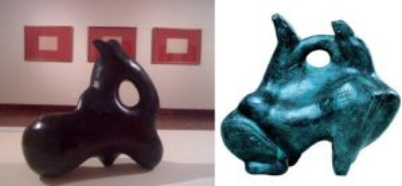 """Duas esculturas de Victor Brecheret, exemplos da sua valorização e do seu grande interesse pela arte marajoara. À esquerda, """"O índio e a suassuapara""""; à direita: """"Drama marajoara""""."""