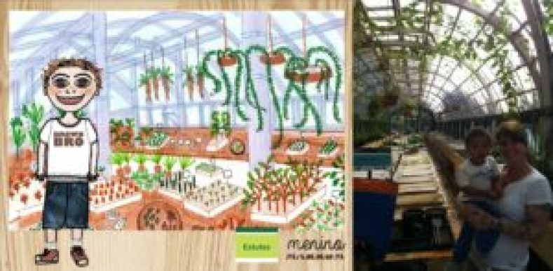 Outro desenho de Cecília para um livro inédito que escreveu sobre a sua história e de Pedro no Manequinho Lopes; ao lado, os dois em uma das estufas do viveiro.