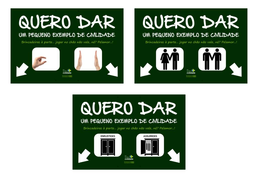 Layouts para as placas sobre as lixeiras de camisinhas (crédito: Um Convite à Civilidade)