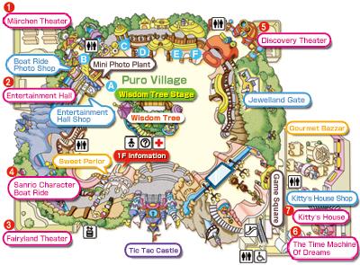 Mapa completo Sanrio Puroland Japón