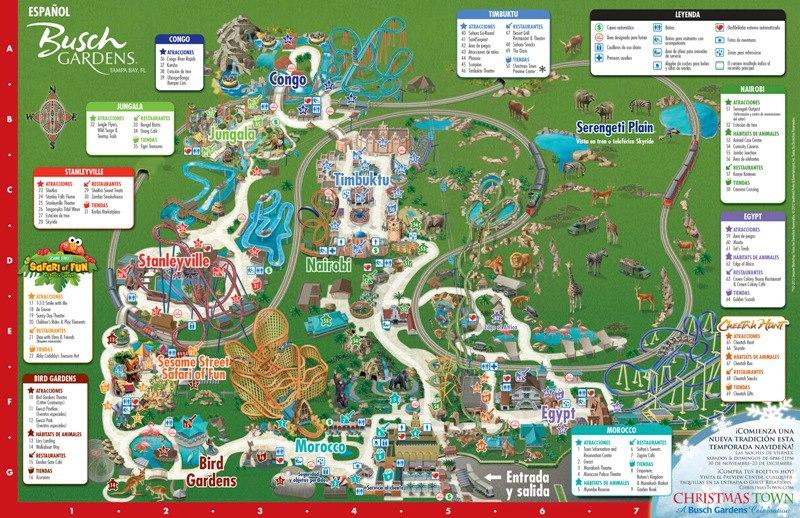 Mapa de Busch Gardens disponible en español y portugués