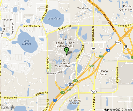 Mapa de ubicación Citi Walk, Universal Studios, Hard Rock Cafe, FL