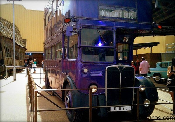 The triple-decker Knight Bus at Leavesden Studios