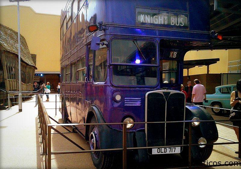 The triple-decker Knight Bus at Leavesden Studios