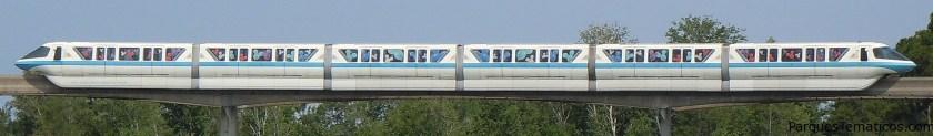 Mark VI Monorail Blue on the resort line at the Magic Kingdom.